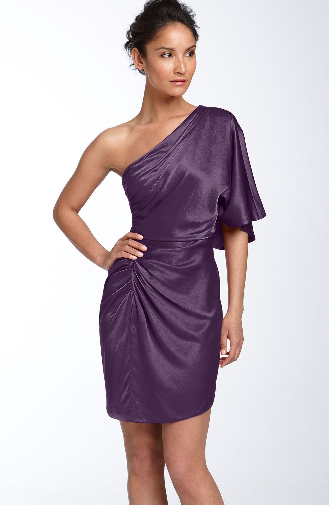,                             Draped One Shoulder Stretch Satin Dress,                             Main thumbnail 5, color,                             500