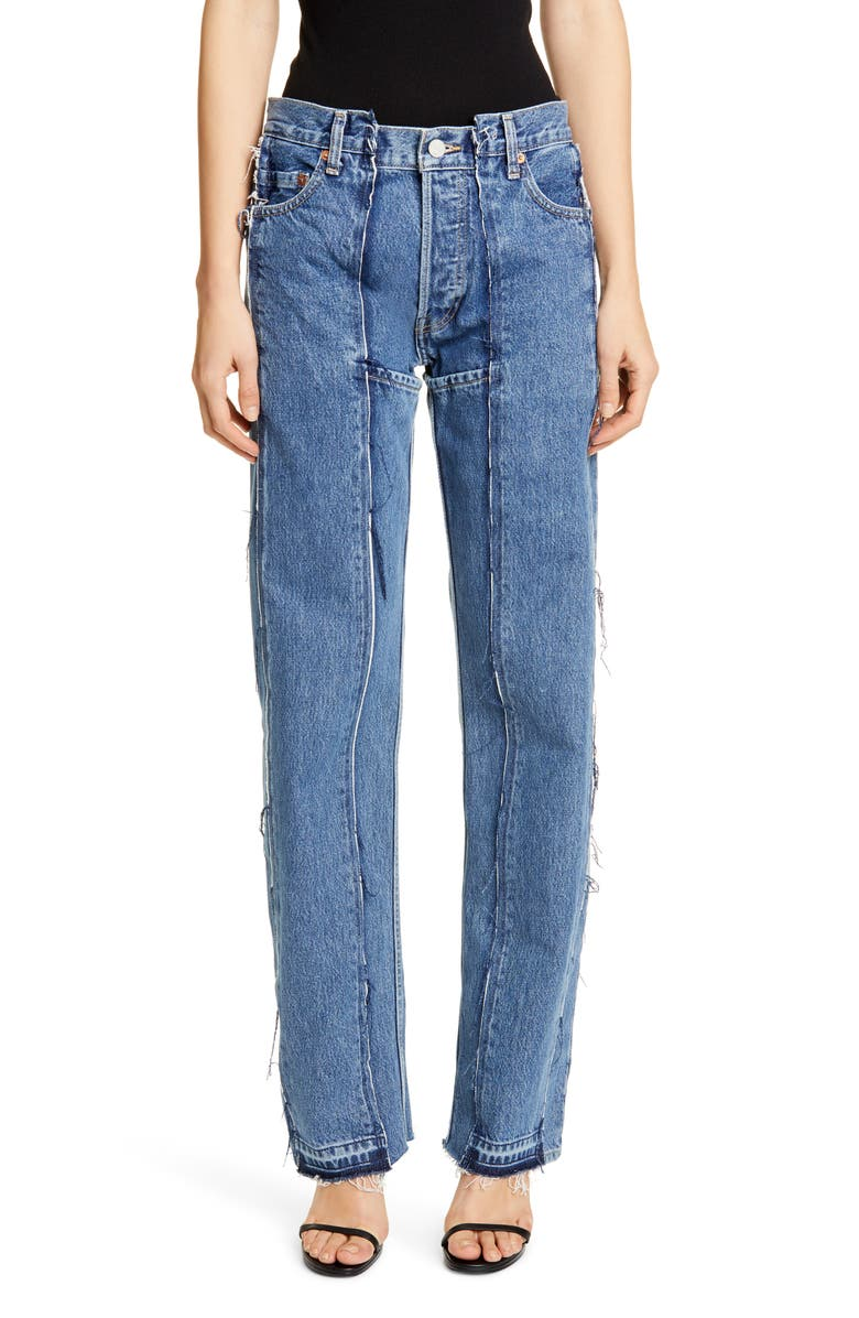 VETEMENTS Runway Reconstructed Straight Leg Jeans, Main, color, 400