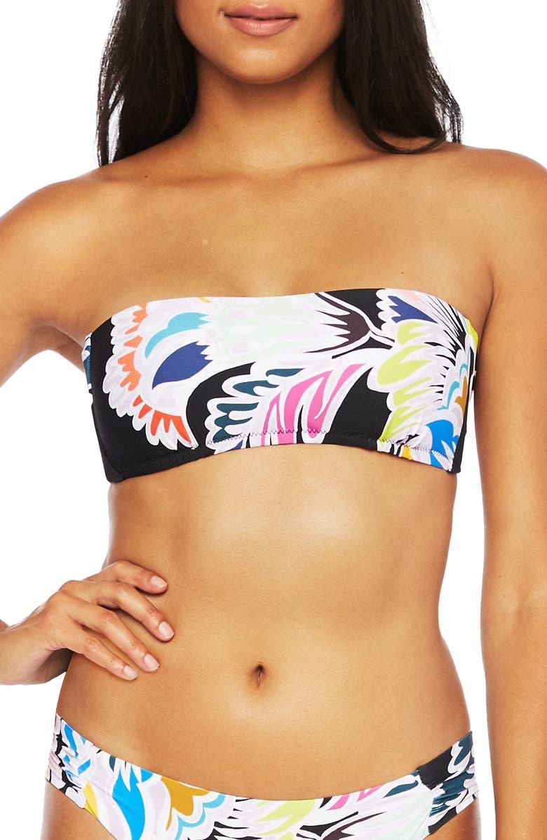 TRINA TURK Seychelles Floral Bandeau Bikini Top, Main, color, 001