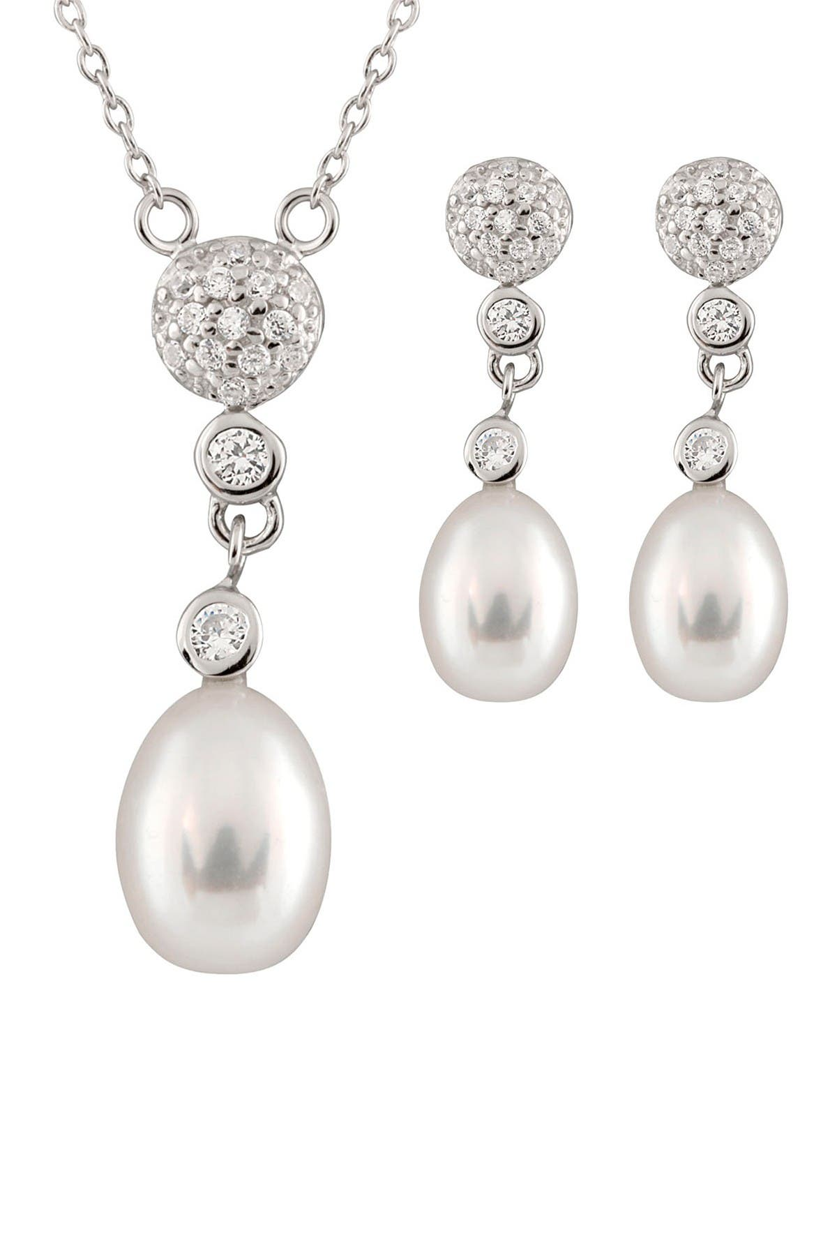 Image of Splendid Pearls 8-8.5mm White Freshwater Pearl CZ Cluster Pendant Necklace & Earrings Set