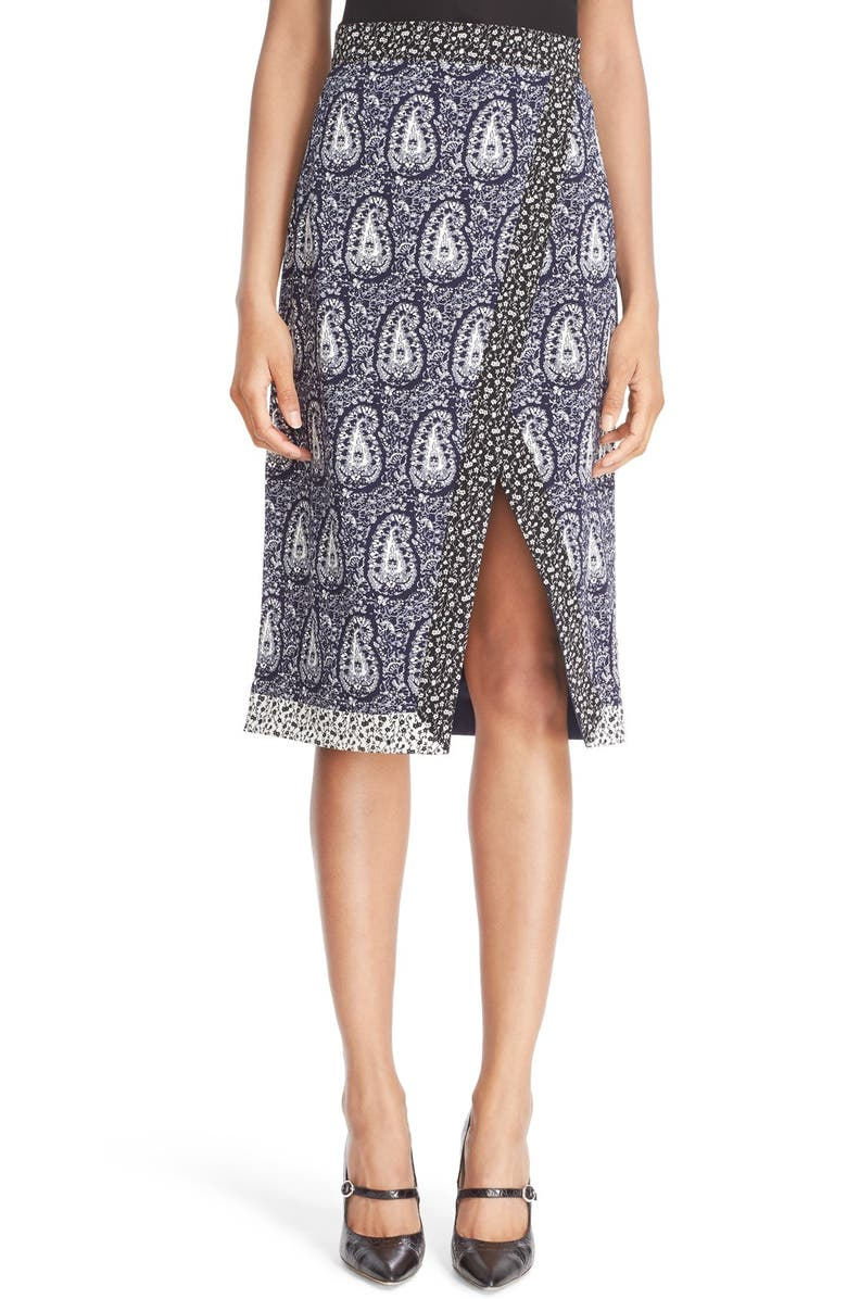 ALTUZARRA 'Jude' Paisley Faux Wrap Skirt, Main, color, 400