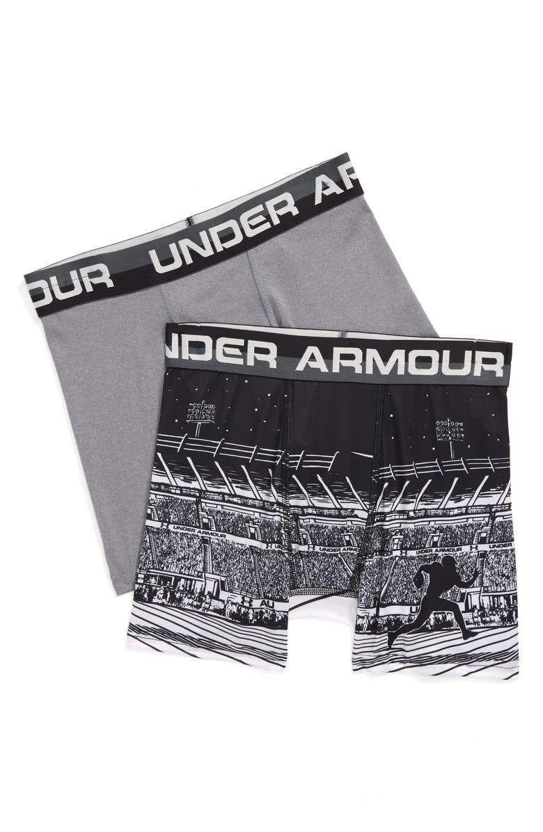 UNDER ARMOUR Boxerjock<sup>®</sup> 2-Pack Boxer Briefs, Main, color, BLACK