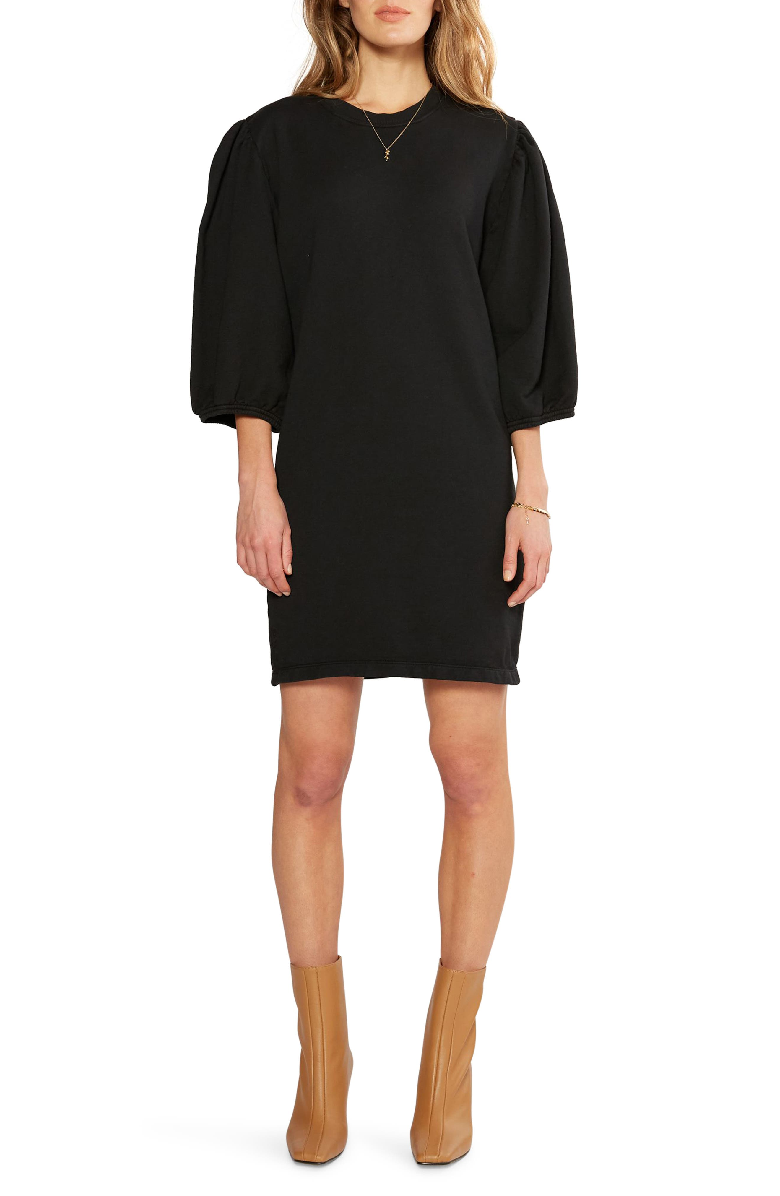 Women's Etica Isabelle Puff Sleeve Cotton French Terry Shift Dress