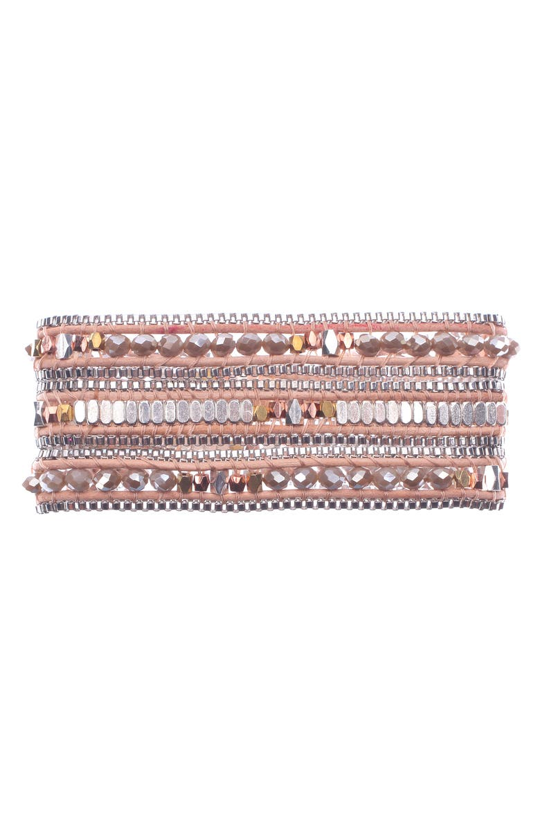 NAKAMOL CHICAGO Beaded Wrap Bracelet, Main, color, CREAM/ TAN