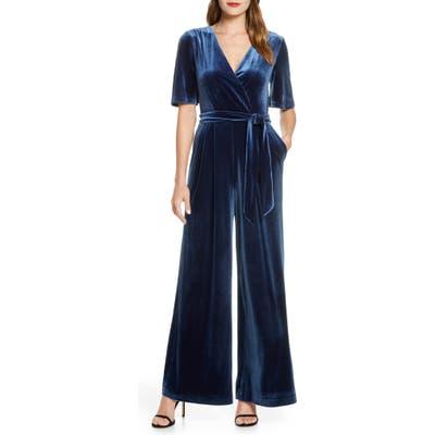 Eliza J Wide Leg Faux Wrap Jumpsuit, Blue
