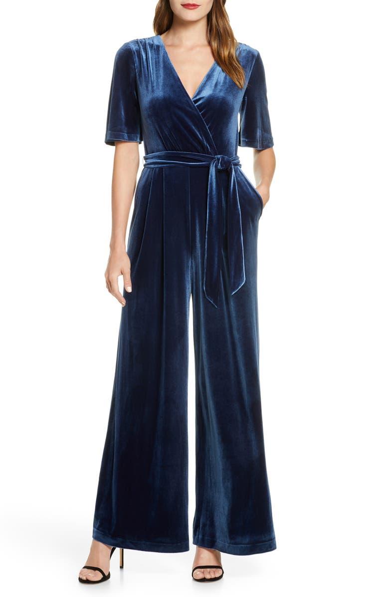 ELIZA J Wide Leg Faux Wrap Jumpsuit, Main, color, BLUE