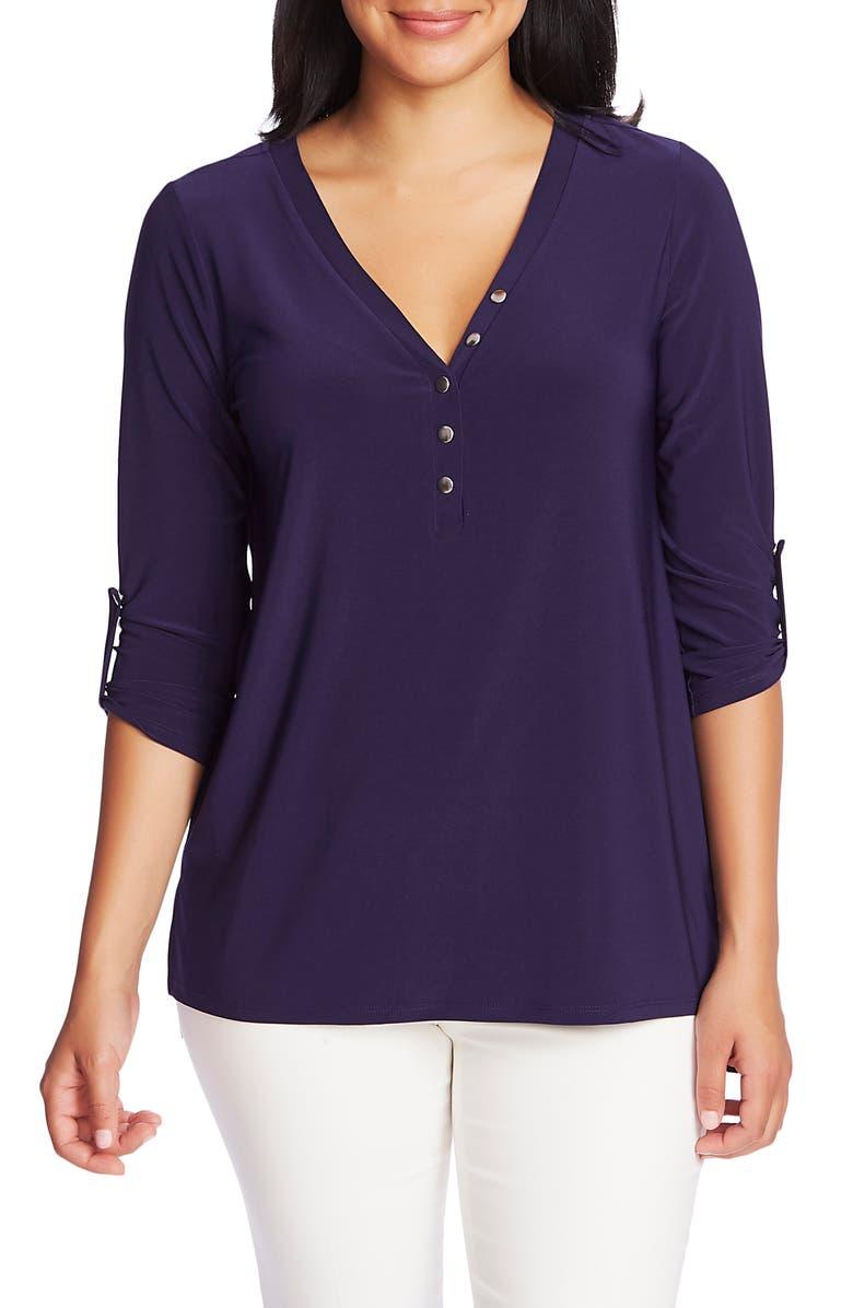 CHAUS V-Neck Snap Button Henley Tunic, Main, color, 429