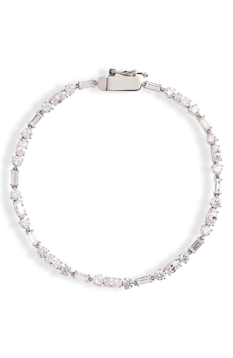 NADRI Bliss Mia Cubic Zirconia Tennis Bracelet, Main, color, SILVER