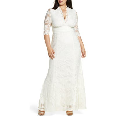 Plus Size Kiyonna Amour Lace Gown, Ivory