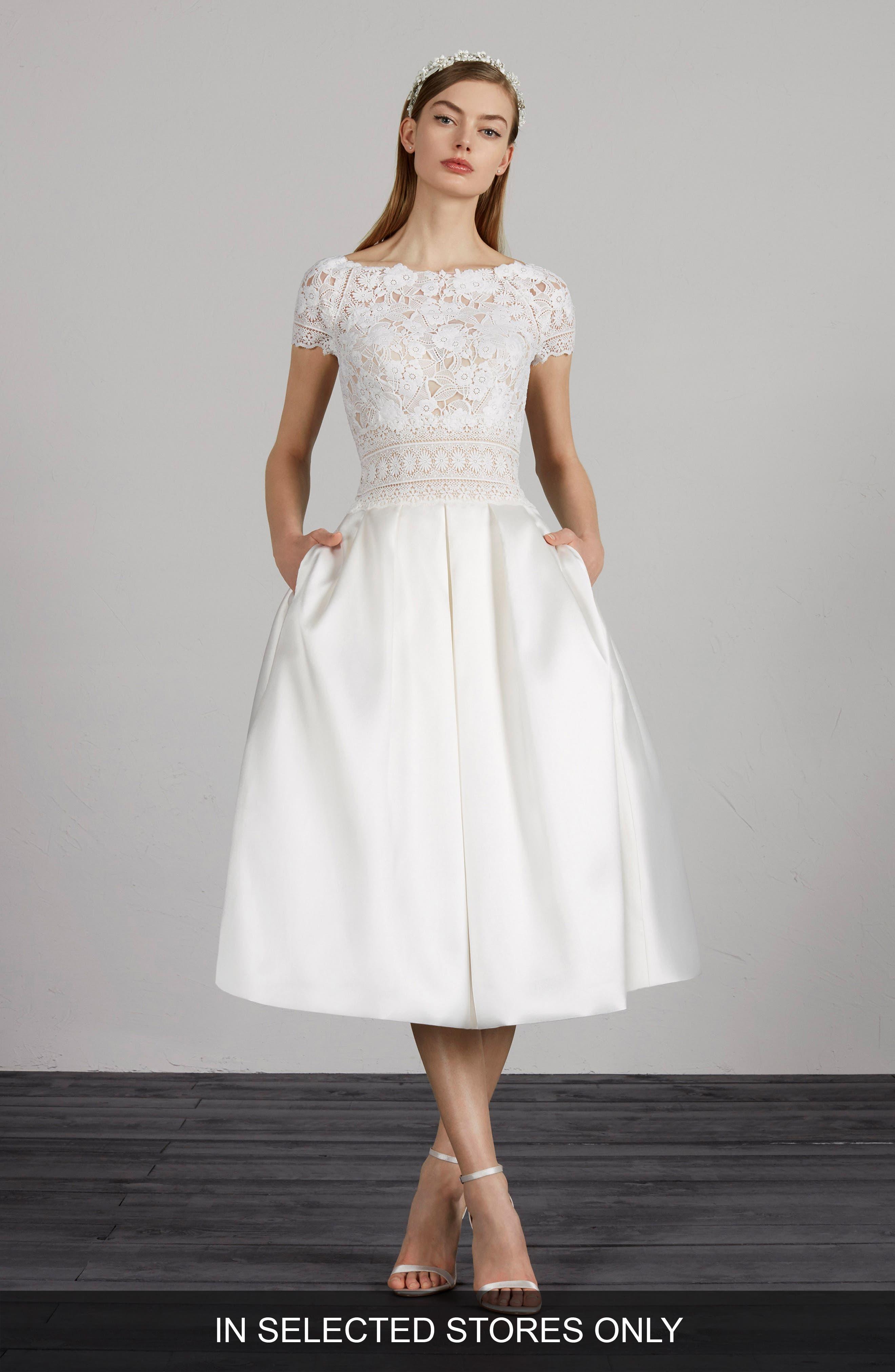 ,                             Miami Lace & Mikado Tea Length Dress,                             Main thumbnail 1, color,                             OFF WHITE/ CRST/ ND
