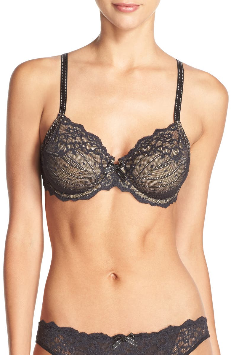 CHANTELLE LINGERIE Rive Gauche Full Coverage Unlined Bra, Main, color, BLACK