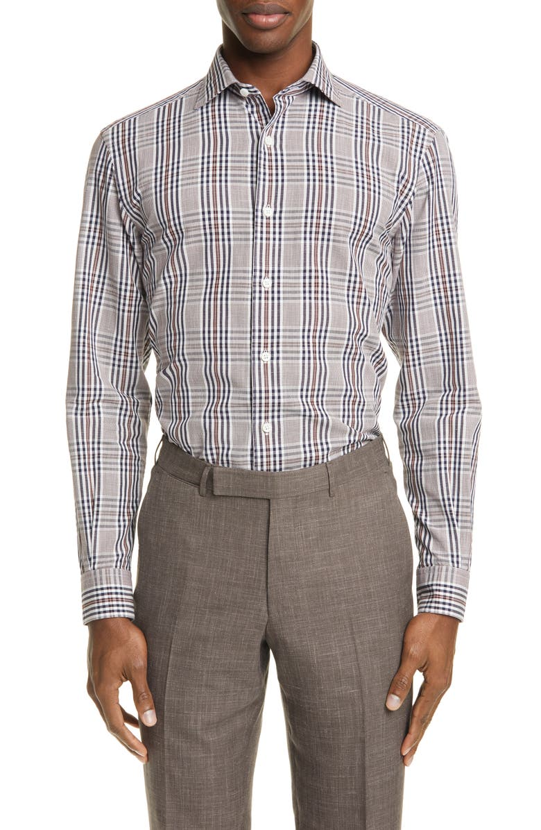 ERMENEGILDO ZEGNA Classic Fit Plaid Cotton & Linen Button-Up Shirt, Main, color, 400