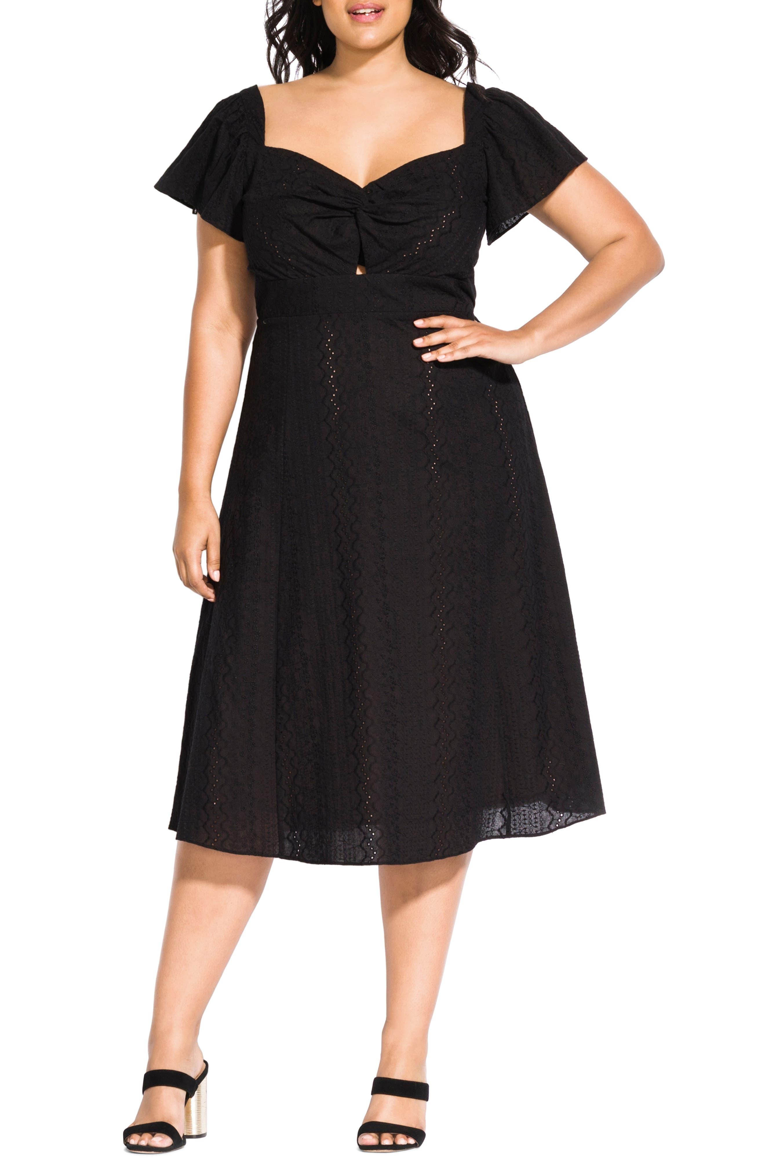 Plus Size Vintage Dresses, Plus Size Retro Dresses Plus Size Womens City Chic Pretty Eyelet Dress $129.00 AT vintagedancer.com