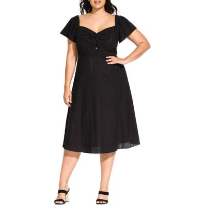 Plus Size City Chic Pretty Eyelet Dress, Black