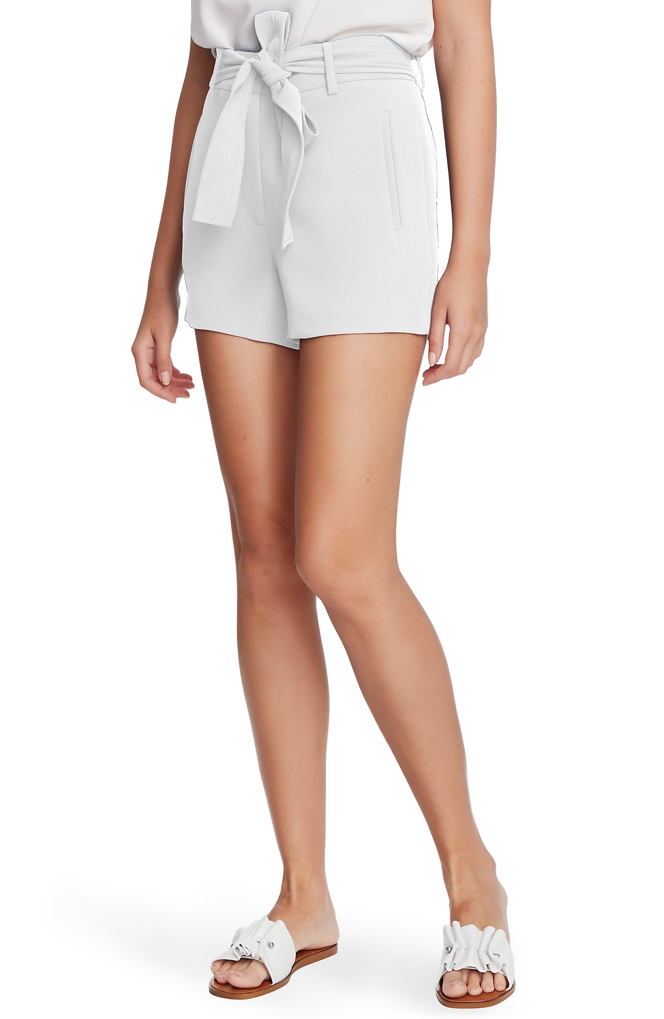Women's 1.state Tie Waist Textured Crepe Shorts,  2 - White