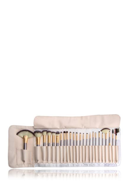Image of Zoe Ayla 24-Piece Make-Up Brush Set with Vegan Leather Storage Bag - Beige