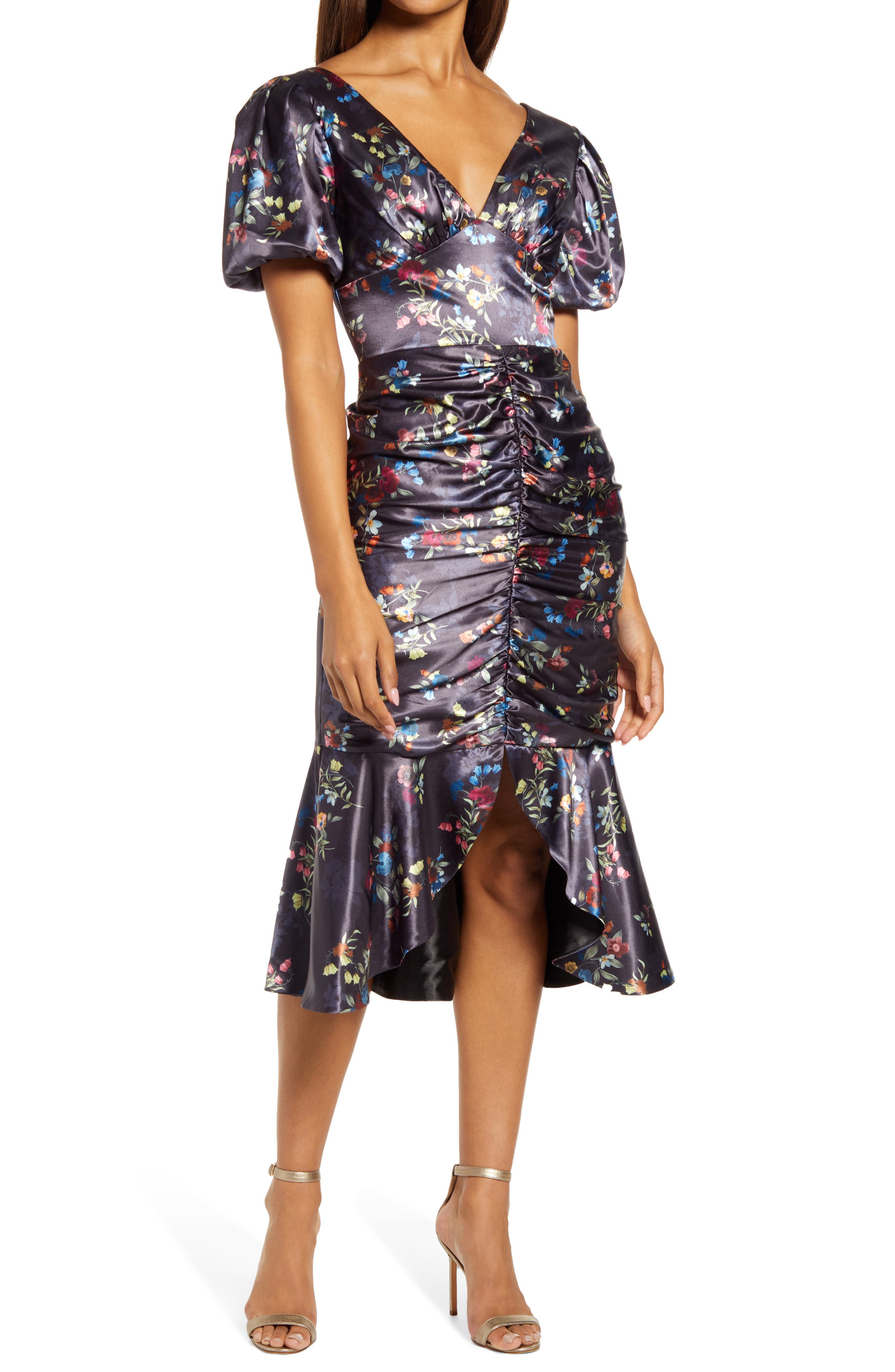 Amanza Floral Ruched Satin Body Con Dress