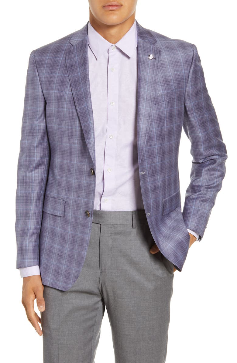 TED BAKER LONDON Jay Trim Fit Plaid Wool Sport Coat, Main, color, LILAC