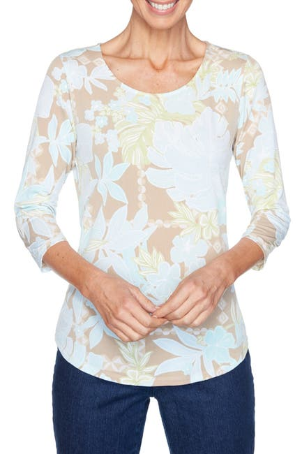 Image of Ruby Rd Bold Floral Textured Puff Printed Top