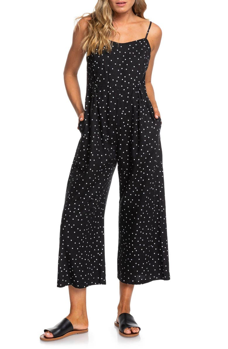 ROXY In A Sunrise Wide Leg Crop Jumpsuit, Main, color, SNOW WHITE LITTLE THING