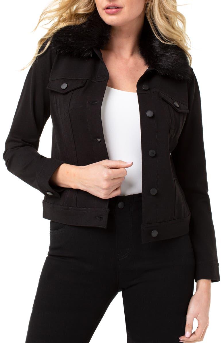 LIVERPOOL Detachable Faux Fur Collar Denim Jacket, Main, color, BLACK