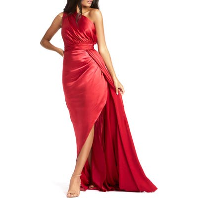 MAC Duggal One-Shoulder Faux Wrap Satin Gown, Red