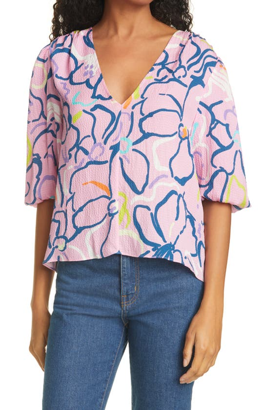 Tanya Taylor Camilla Squiggle Floral Silk Blouse In Squiggle Floral Purple