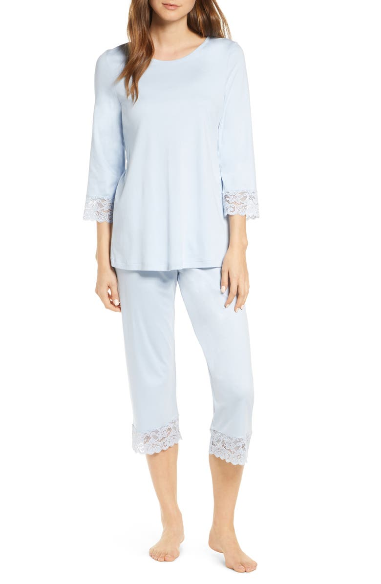 HANRO Moments Lace Trim Crop Pajamas, Main, color, AQUA BLISS