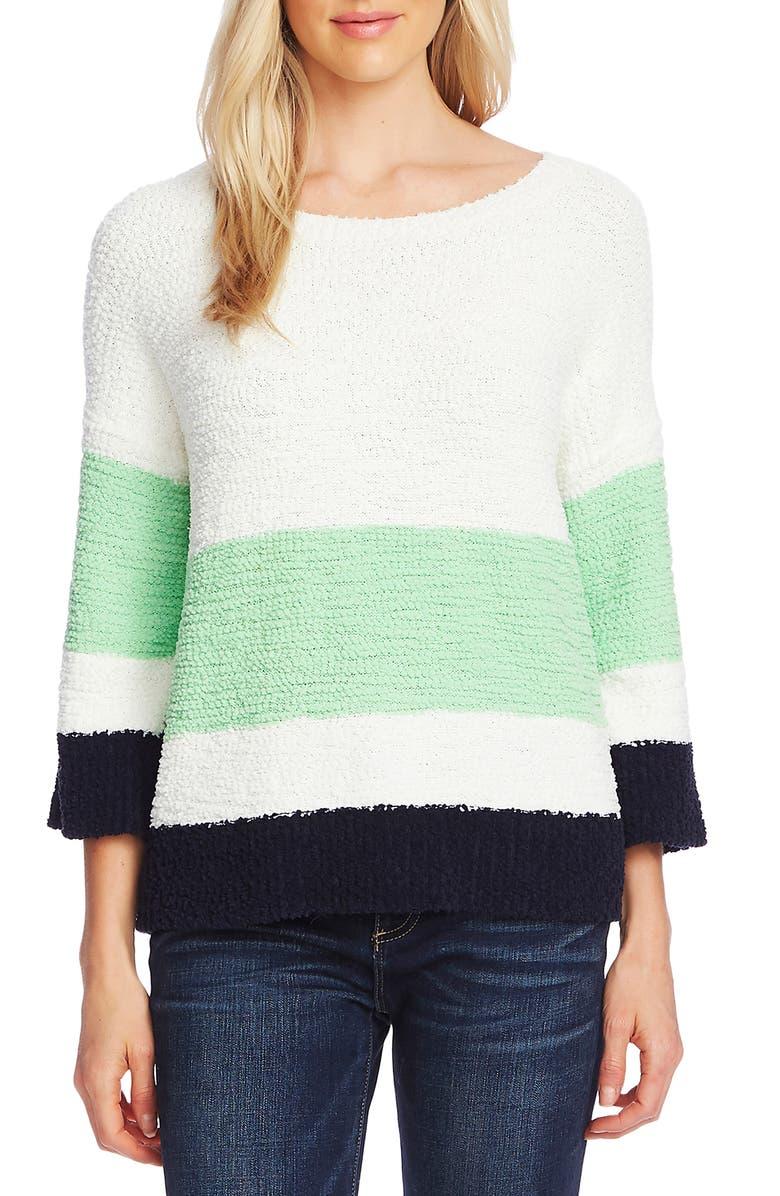 VINCE CAMUTO Colorblock Teddy Knit Sweater, Main, color, PISTACHIO