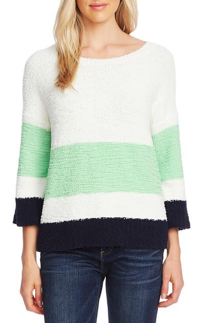 Vince Camuto Knits COLORBLOCK TEDDY KNIT SWEATER