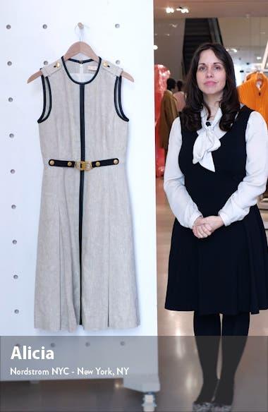 Leather Trim Linen Midi Dress, sales video thumbnail