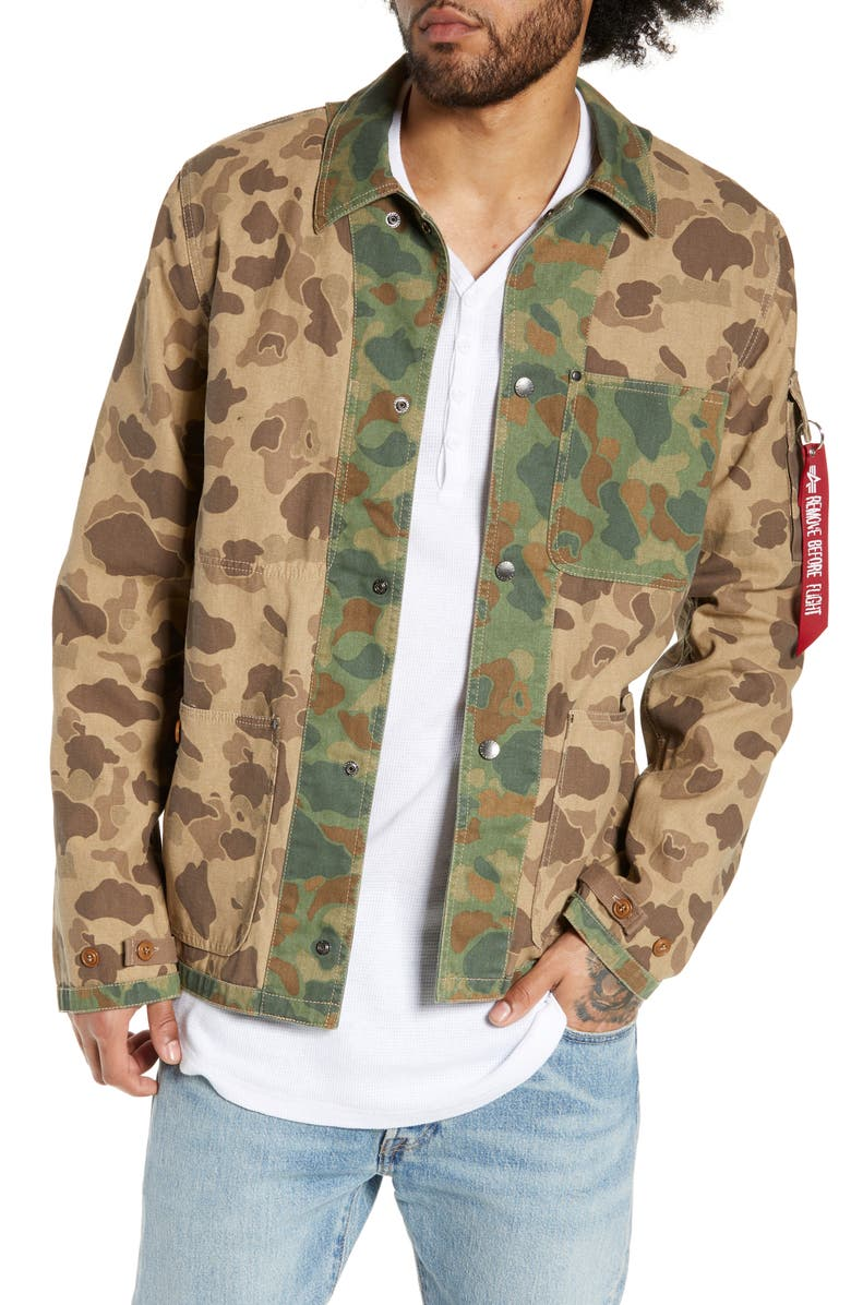 ALPHA INDUSTRIES P-42 Mod Camo Jacket, Main, color, BROWN FROGSKIN CAMO