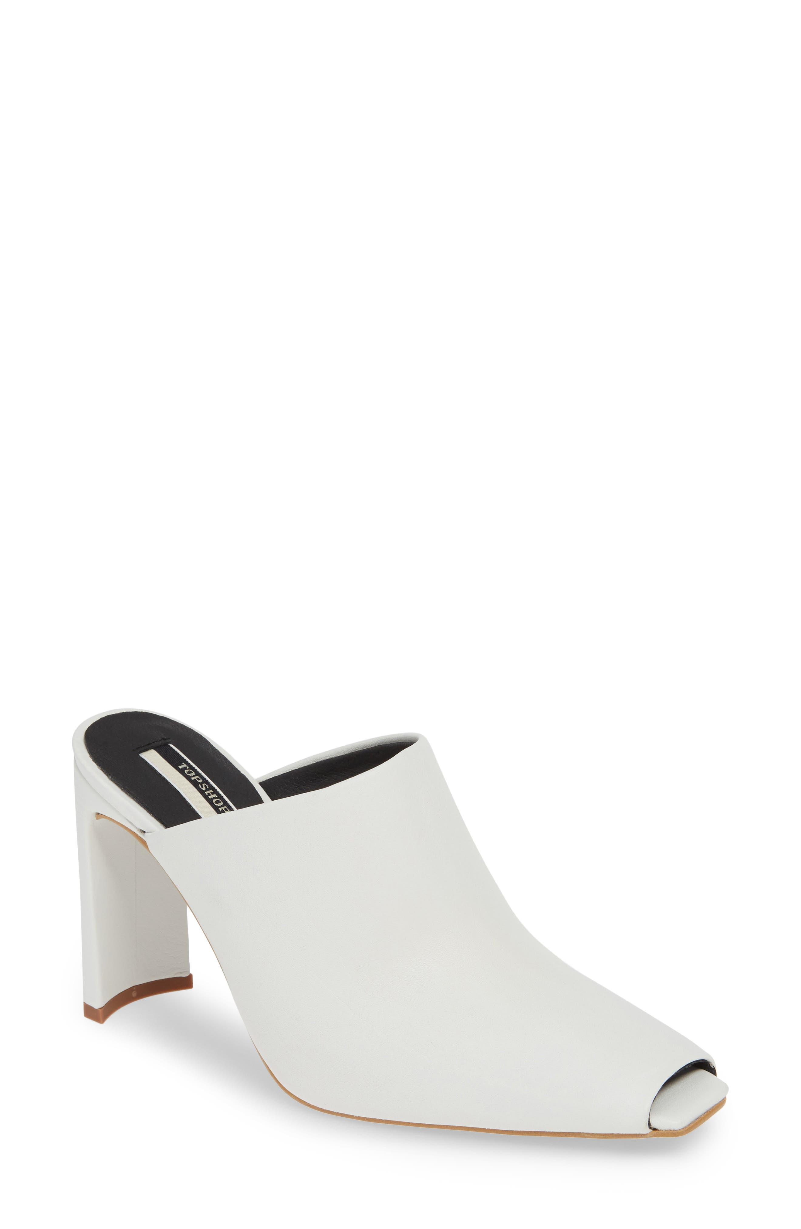 Topshop Geneva Peep Toe Mule - White