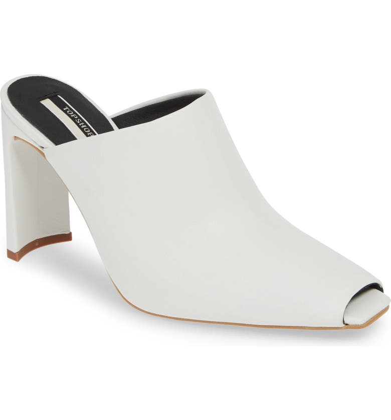 TOPSHOP Geneva Peep Toe Mule, Main, color, WHITE