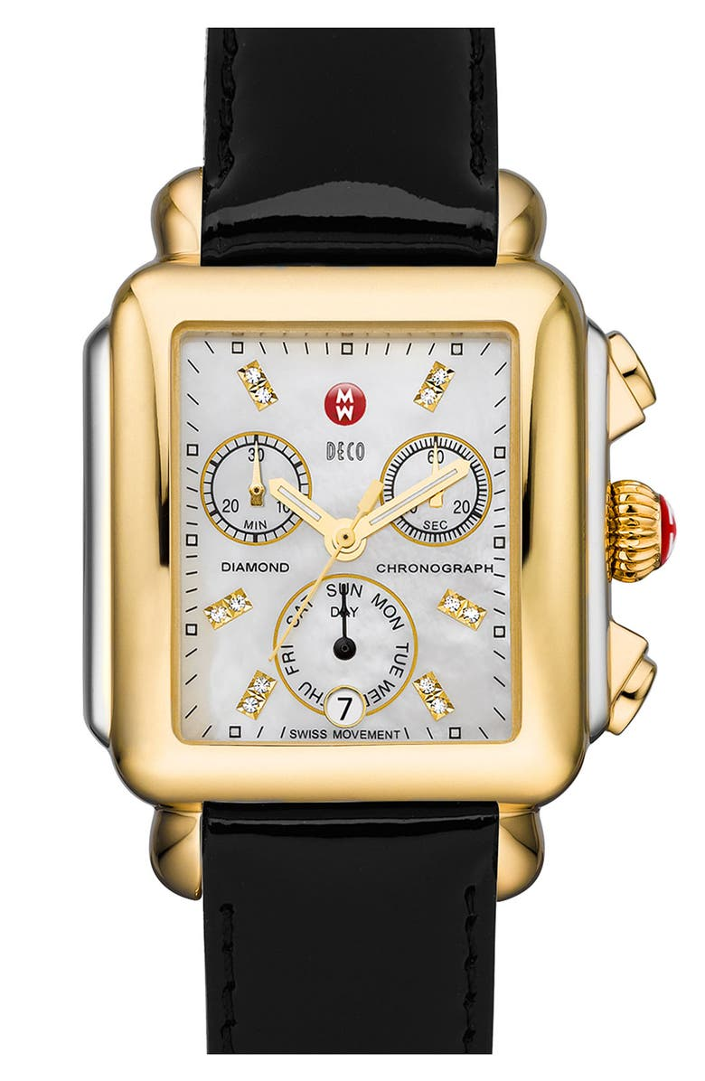 MICHELE Deco Diamond Dial Two-Tone Watch Head, 33mm x 35mm, Main, color, GOLD/ SILVER