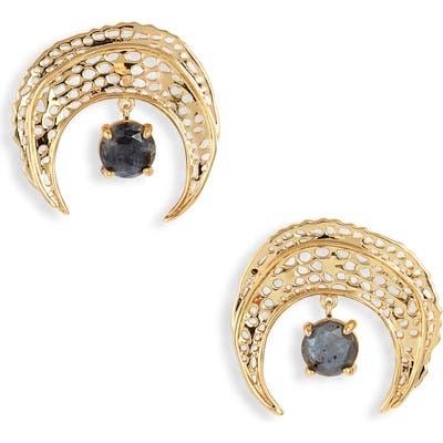 Gorjana Stone Drop Crescent Stud Earrings