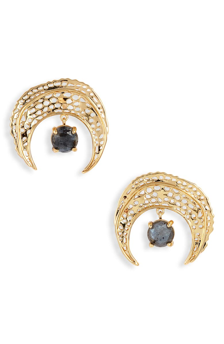 GORJANA Stone Drop Crescent Stud Earrings, Main, color, GOLD