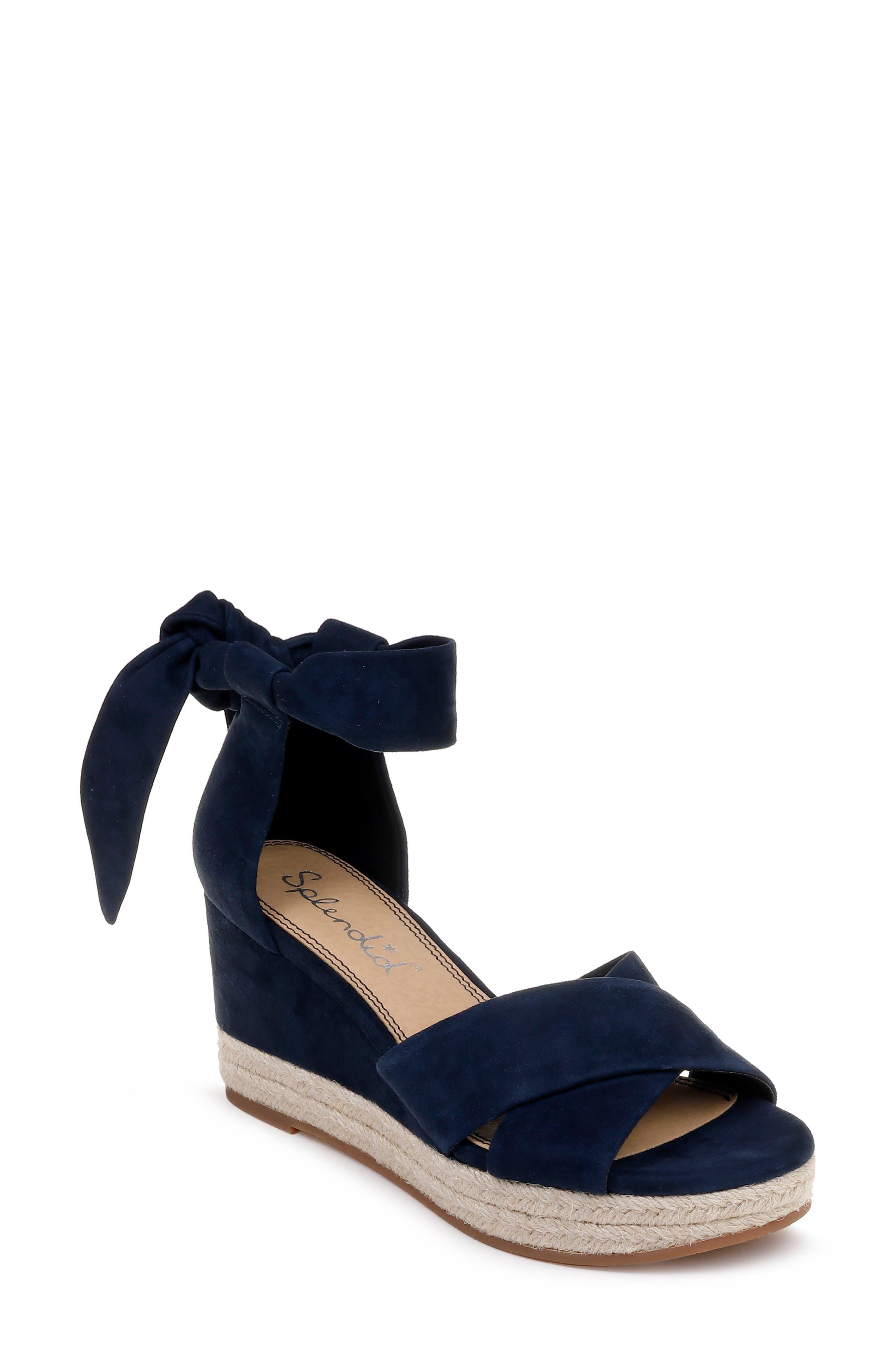 Splendid Terrence Ankle Wrap Wedge Sandal- Blue