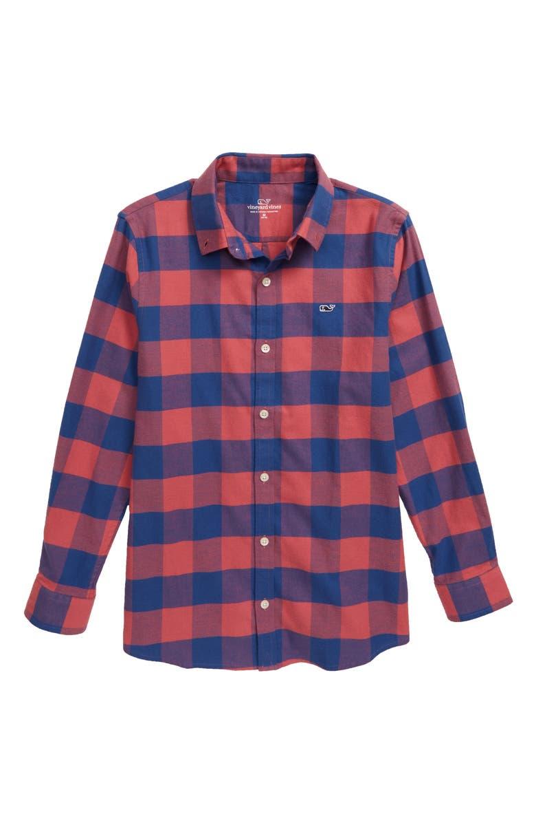 VINEYARD VINES Kelby Flannel Whale Shirt, Main, color, MARINER