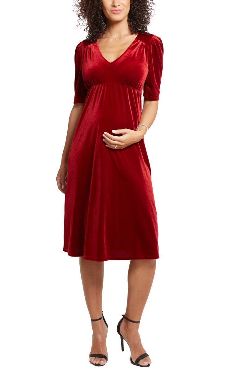 INGRID & ISABEL<SUP>®</SUP> Velvet V-Neck Midi Maternity Dress, Main, color, BRIGHT CRIMSON