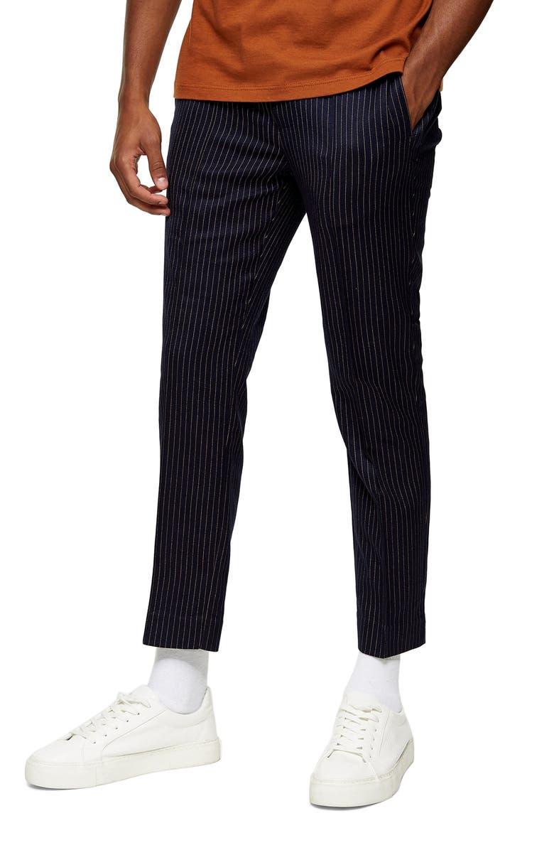 TOPMAN Peanut Pinstripe Jogger Pants, Main, color, NAVY BLUE
