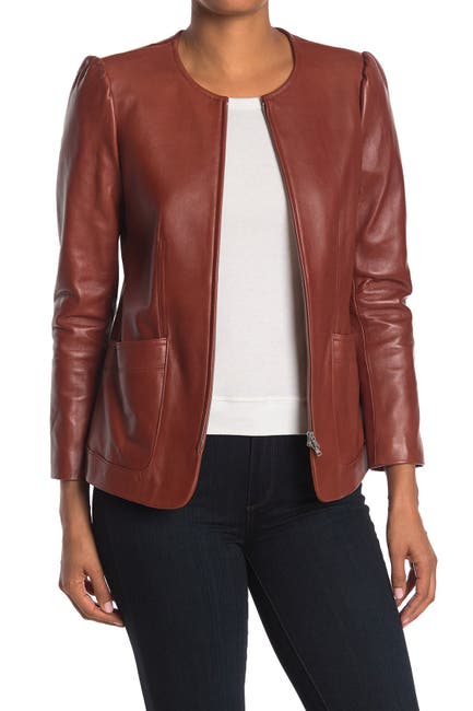 Image of Rebecca Taylor Patch Pocket Genuine Leather Jacket