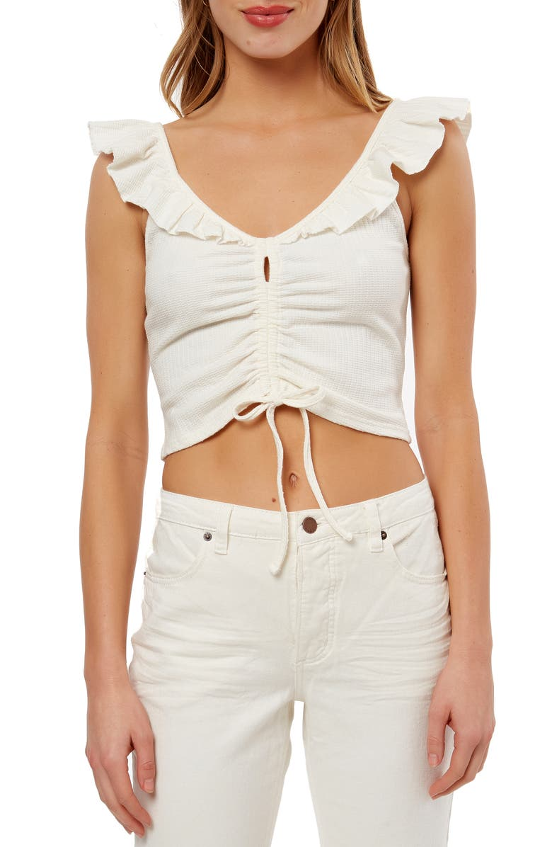 O'NEILL Martie Ruched Ruffle Trim Crop Top, Main, color, 100