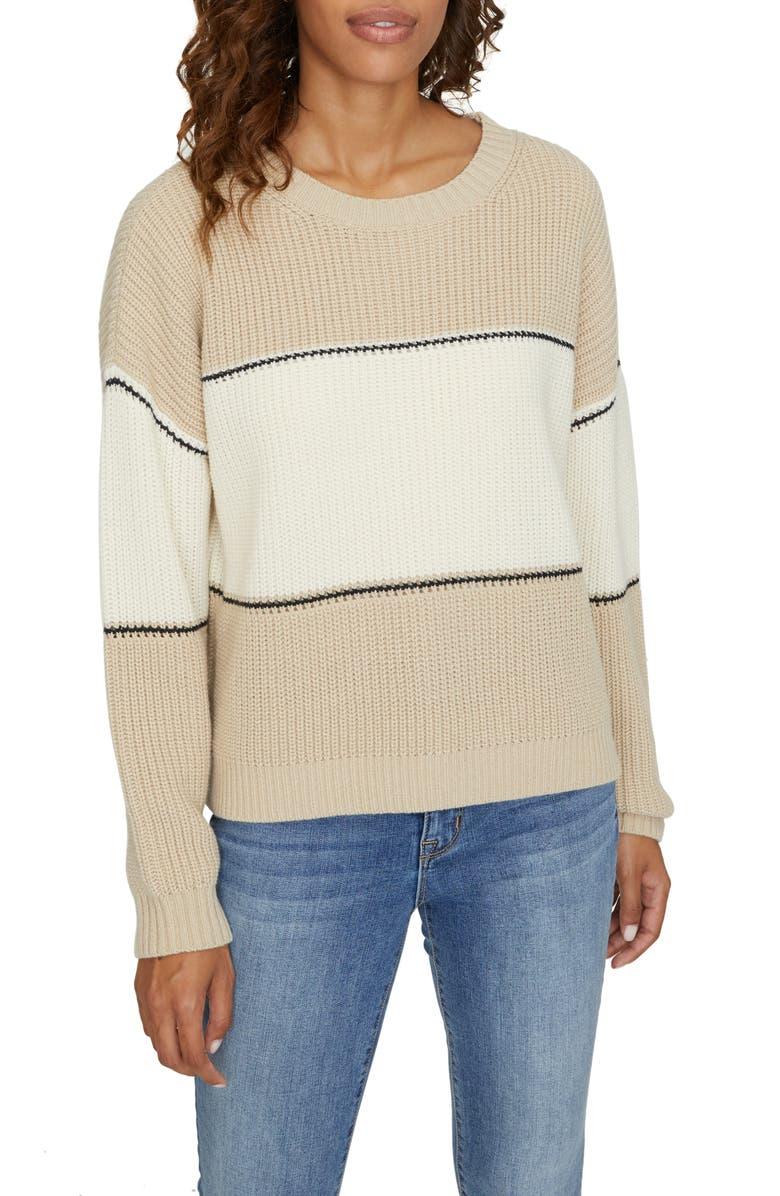 SANCTUARY Billie Colorblock Shaker Stitch Sweater, Main, color, MODERN BEIGE/WHITE/BLACK