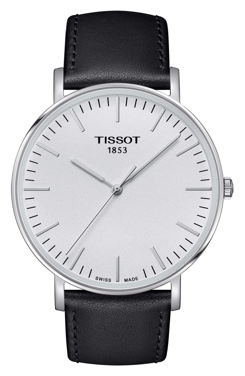 TISSOT Everytime Leather Strap Watch, 42mm, Main, color, 001