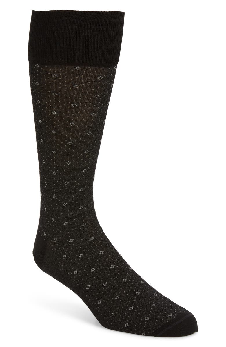 NORDSTROM SIGNATURE Nordstrom Men's Shop Diamond Dress Socks, Main, color, 001