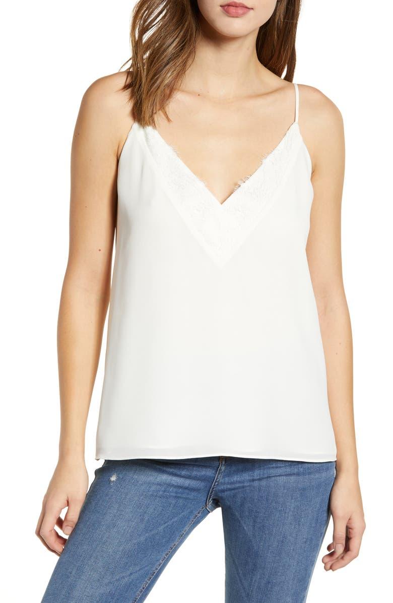 SOCIALITE Lace Trim Camisole Top, Main, color, IVORY