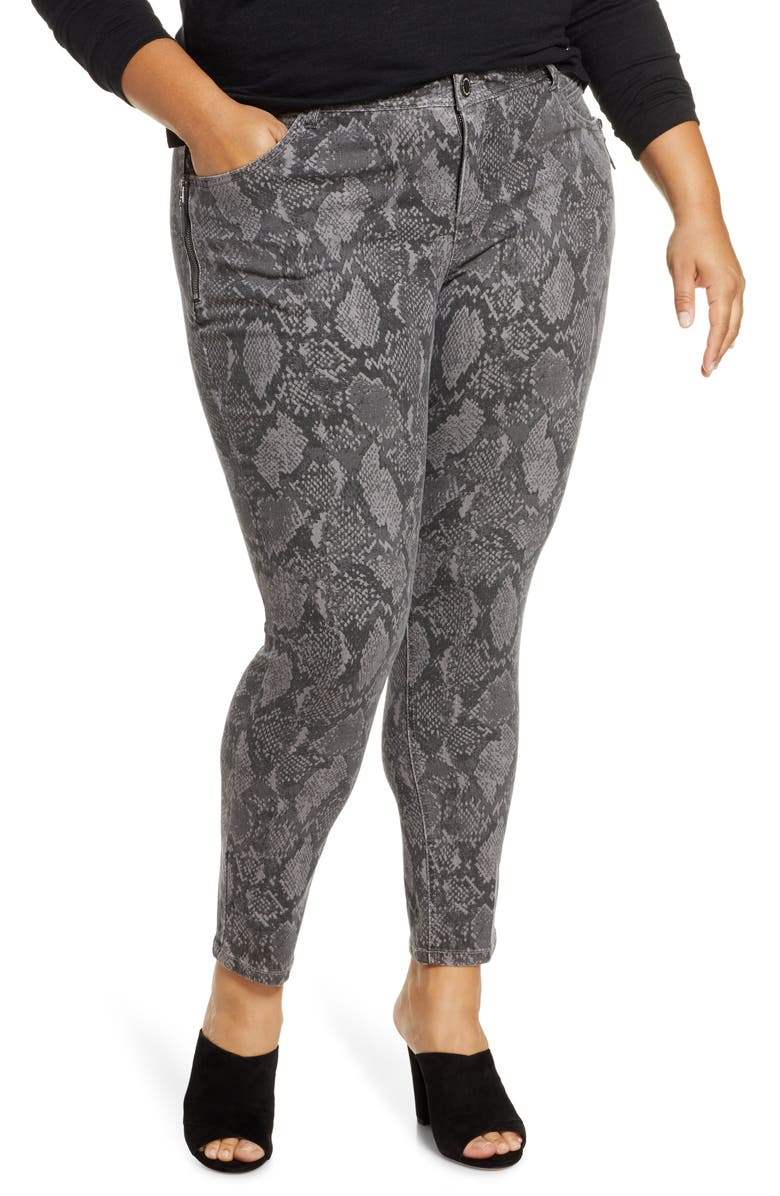 WIT & WISDOM Ab-Solution Snake Print Side Zip Ankle Skinny Jeans, Main, color, GREY