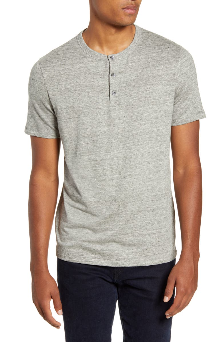 THEORY Essential Regular Fit Stretch Linen Henley, Main, color, PEBBLE MELANGE