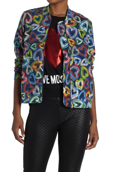 Image of LOVE Moschino Bomber Jacket With Allover Heart Print